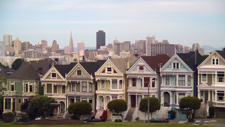 row of victorian painted lady homes in san francisco stock