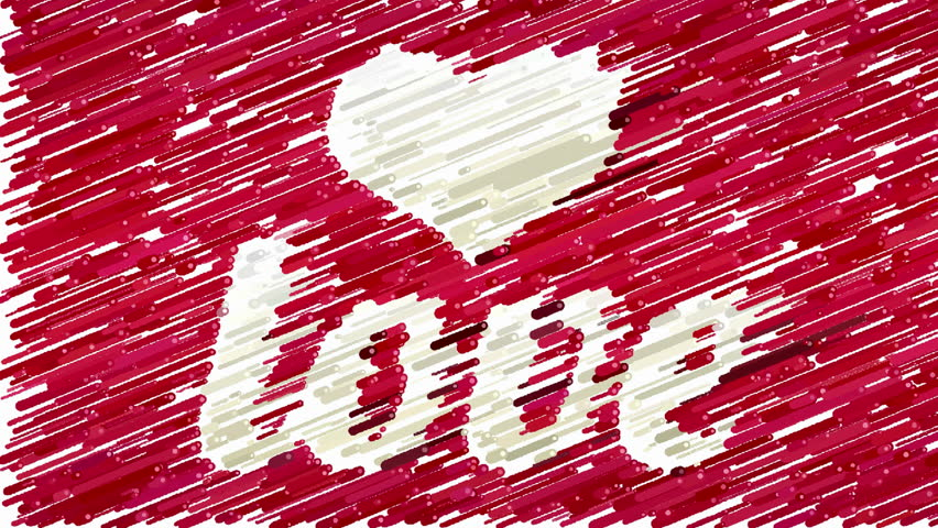 White Love Inscription And Heart Symbol On Red Background Forms By