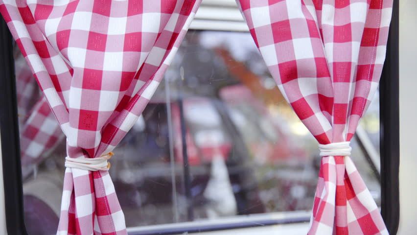 Retro Curtains On Camper Van Stock Footage Video 100 Royalty Free 14202236 Shutterstock