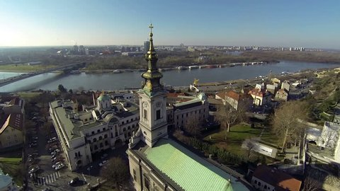 Flight over orthodox church, Patriarchate of the Serbian Orthodox Church and view of New Belgrade, Serbia