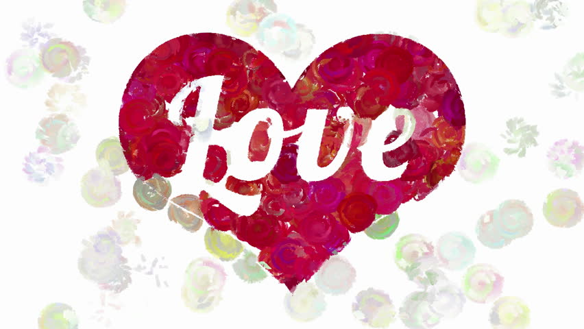 Abstract Animated Round Paint Brush Strokes Forms Word Love Inside Red Heart On White Background Decorative Animation Devoted To The Valentines Day