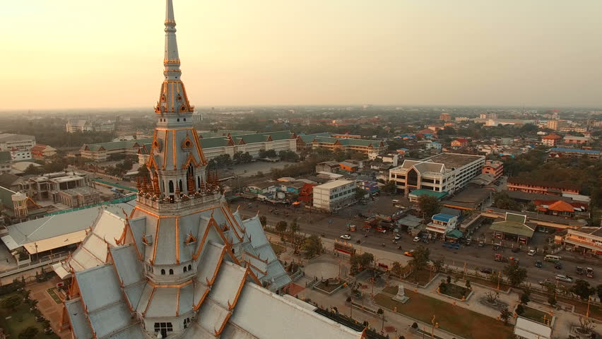Aerial view of wat sothorn temple in chachengsao province eastern of thailand important buddhist religion church landmark in thailand | Shutterstock HD Video #14213456