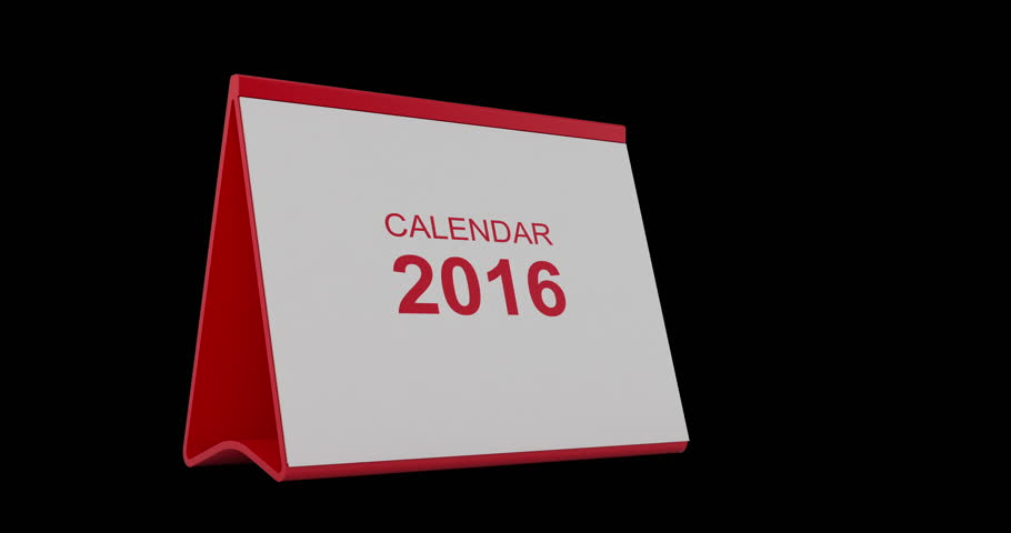 A monthly 2016 calendar. The calendar is red in colour. Pages start to flip from left bottom corner and fly away after tearing. High quality render in 4K resolution. Alpha matte is included.