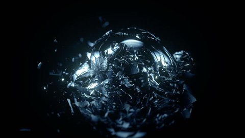 Breaking glass sphere in slow motion on black background