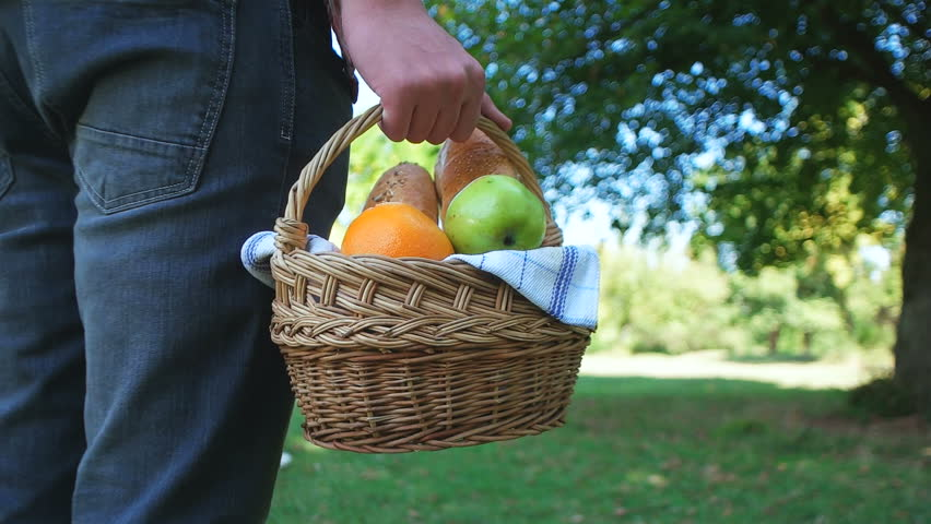 Picnic concept with vegetarian couple in park outdoor | Shutterstock HD Video #14229686