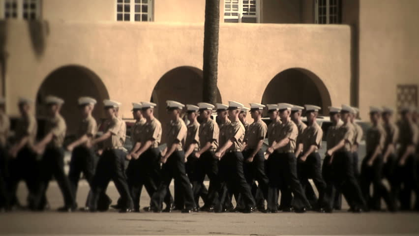 MCRD San Diego, CA- 3/4 view straight march