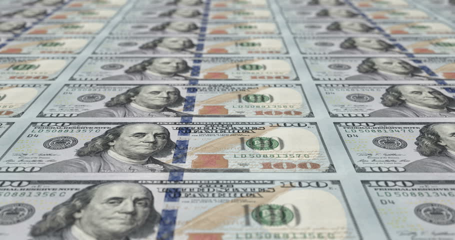 3d animation of printing 100 dollar notes (loopable) | Shutterstock HD Video #14245205