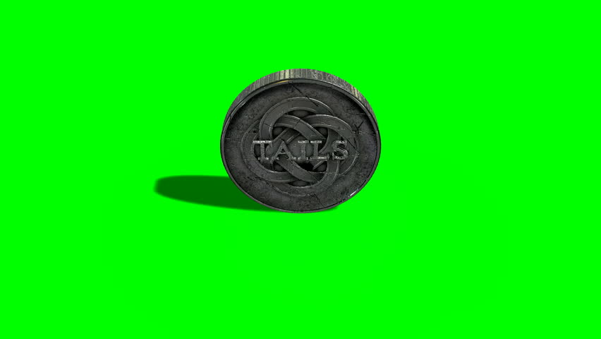 A worn antique silver coin with a heads and tails side spinning on a green screen background | Shutterstock HD Video #14263556