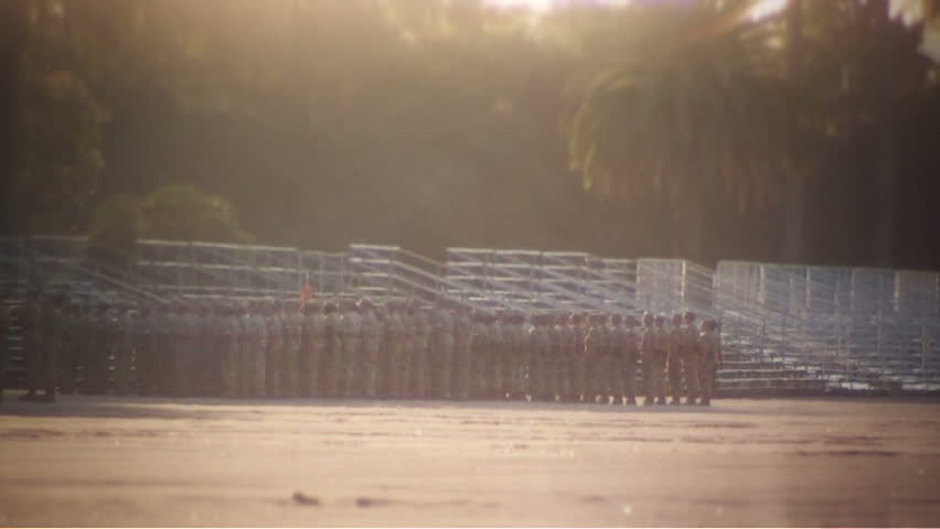 Large group of Marines standing in formation at attention