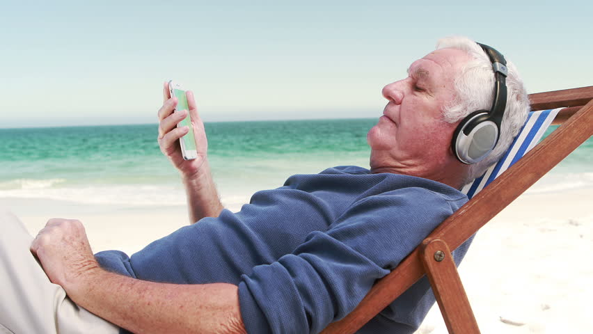 Stock Video Of Old Retired Man Listening Music Lying 14294596