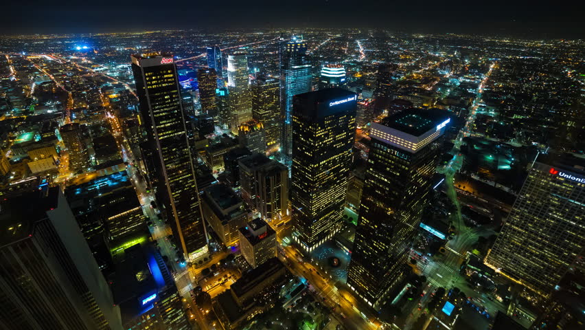 Los Angeles, California, USA - 01/29/2016 - Downtown Los Angeles Aerial Rooftop Night Timelapse  #14310916