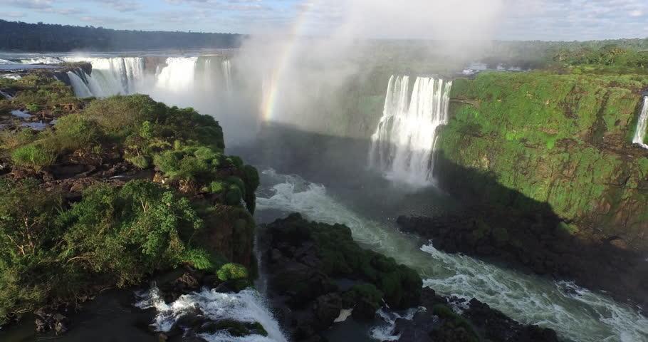 Jun,2015 - Misiones Province, Argentina/Parana State, Brazil: drone aerial shot of the Iguazu Falls which borders Misiones Province, Argentina/Parana State, Brazil | Shutterstock HD Video #14325505