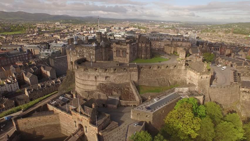 Aerial view over the city centre of Edinburgh, Scotland. Edinburgh Castle in the summer.