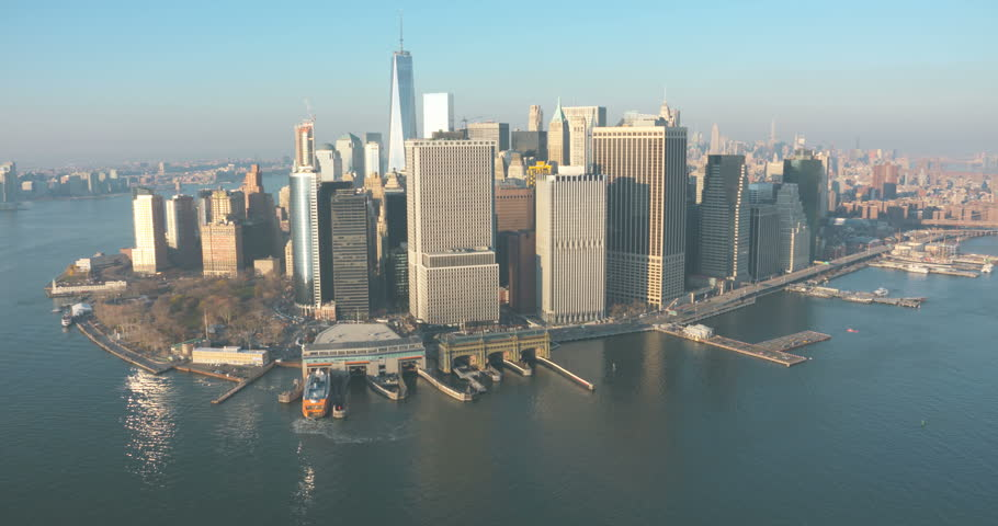 Manhattan Aerial Financial District, Wall Street, 1 WTC, Battery Park, Ferry Terminal December 2015