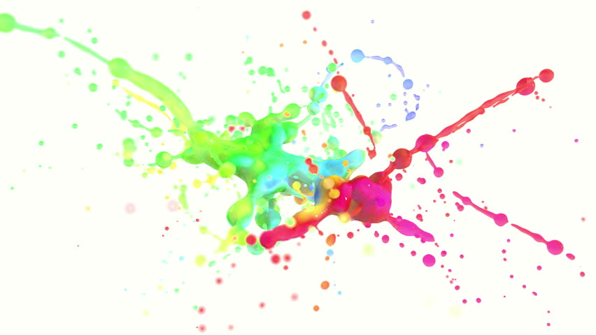 4k Multi Color Paint Splash In Slow Motion Isolated On White With ...