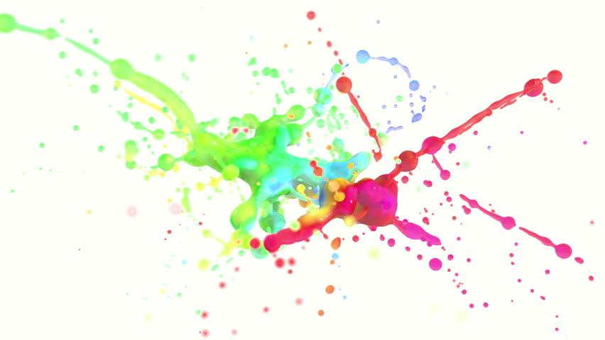 Group Of Drops Paint Splash Colors