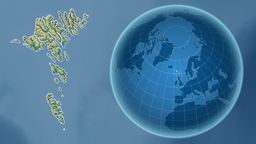 Faroe Islands shape animated on the relief map of the globe | Shutterstock HD Video #14355646