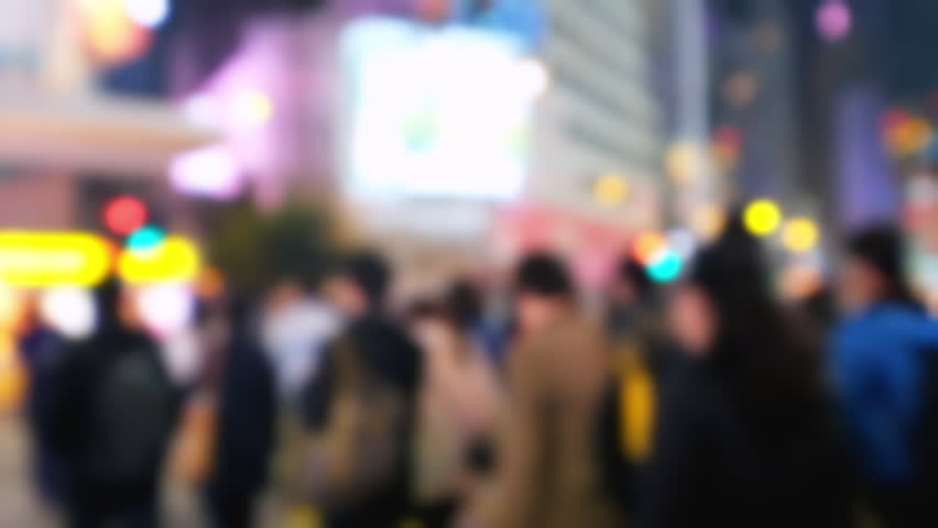 Blurred video of crowded city street with people moving at crossroad. Hong Kong night life | Shutterstock HD Video #14387326