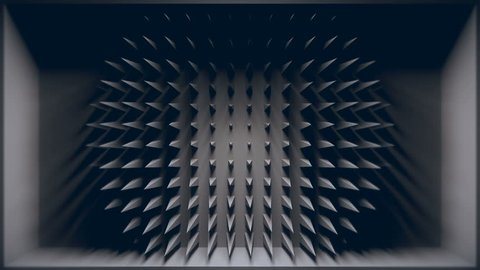 3D room where back wall is penetrated with animated sharp pyramid shapes. Looping animation.