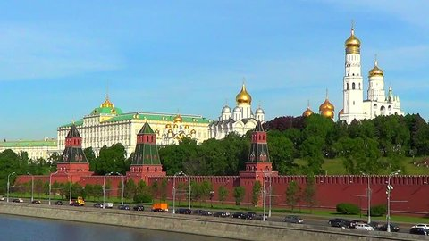 Fortress Moscow Kremlin with Big Kremlin palace and cathedrals in Moscow