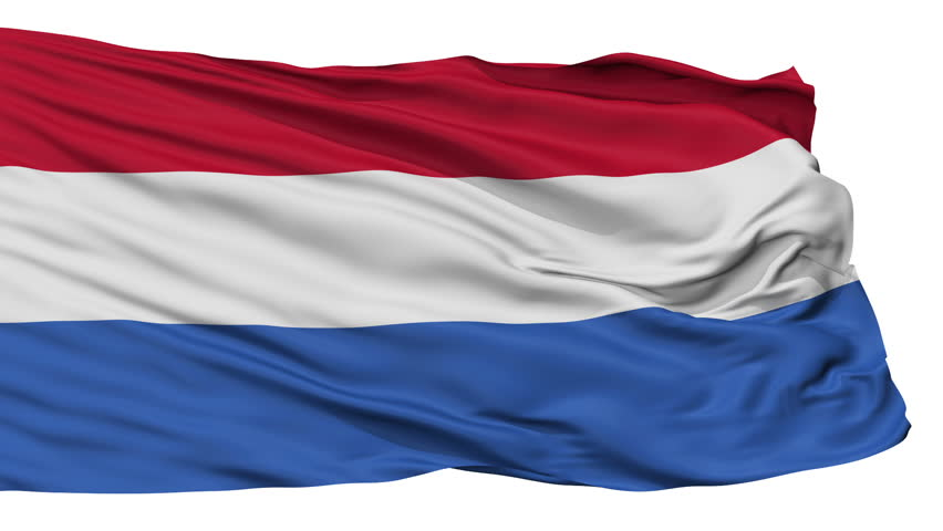 Netherlands Dutch Flag Realistic Animation Isolated on White Seamless Loop - 10 Seconds Long (Alpha Channel is Included)