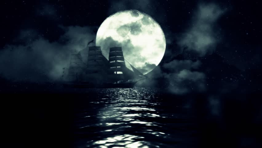 An Old Sailing Ship In The Middle Of A Night Ocean On Full Moon Background