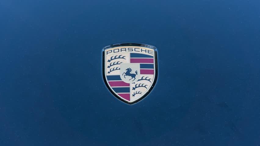 Santa Clara Ca Usa February 16 Porsche Car Logo On Display On