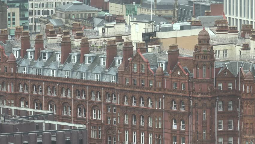 4K Amazing English Architecture With Red Brick Of Traditional Building In Manchester Old Town By Day