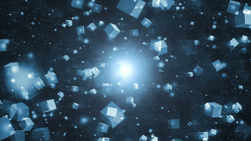Abstract motion blue background.Motion blue abstract background with animated squares and particles. Seamless loop.