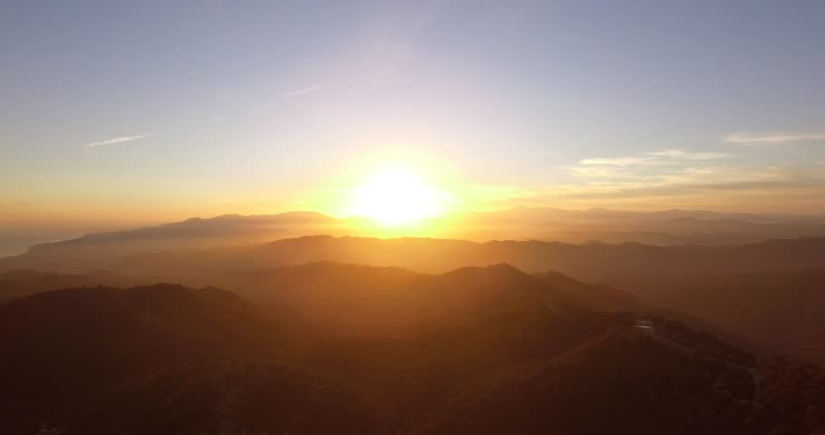 4K Aerial, Flying into sunset in Andalusia, Spain #14539036