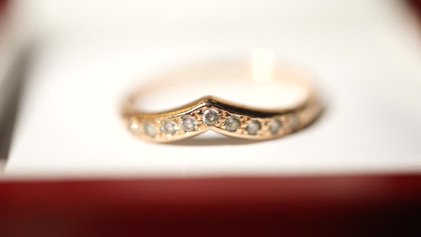 Jewel Gold Ring Rotates A Black Background Stock Footage Video
