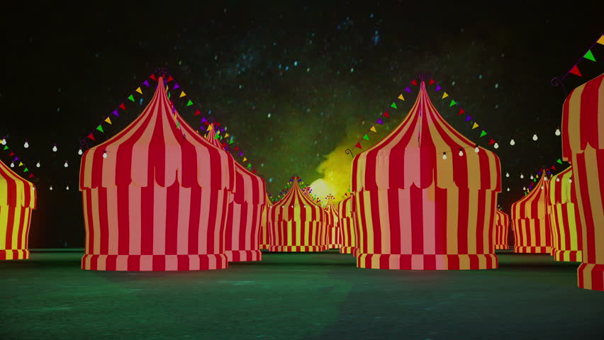 spooky circus tents in a carnival or amusement park at night - HD stock footage clip & Aerial Circling Around Circus Tent Colored In Blue And Yellow ...
