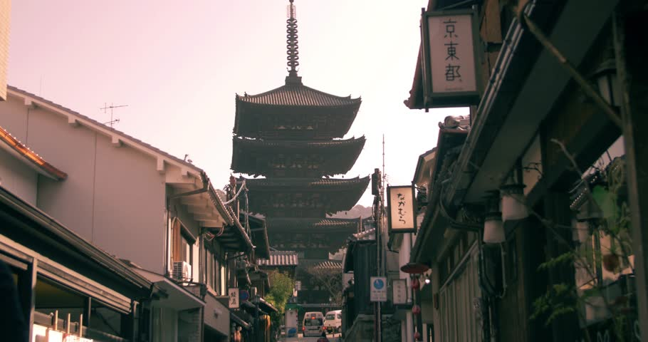 KYOTO, JAPAN – 01/26/2016   front on Sliding shot of large Kyoto Temple in city of Kyoto