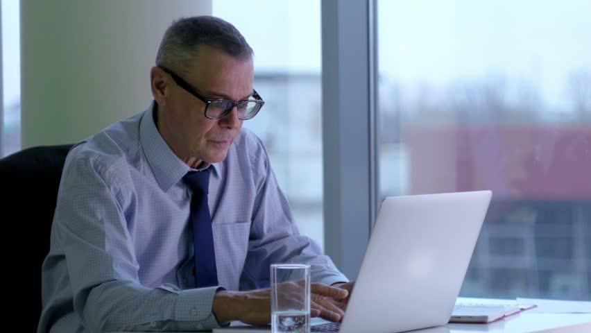 Elderly businessman working with computer in modern office | Shutterstock HD Video #14588977