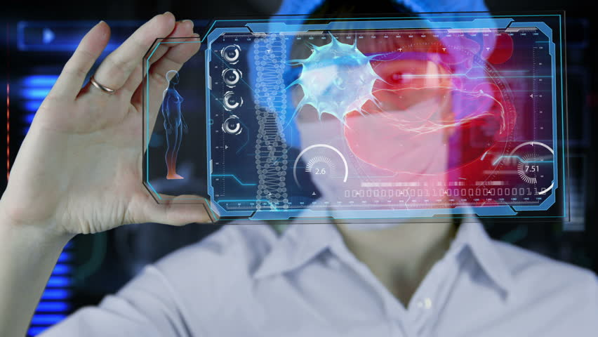 Female doctor with futuristic hud screen tablet.  Bacteria, virus, microbe. Medical concept of the future | Shutterstock HD Video #14593726