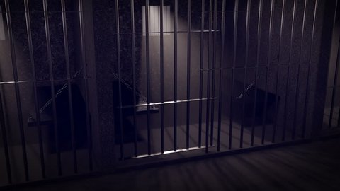 Door of a prison cells opens. Sunbeams through windows and bars.