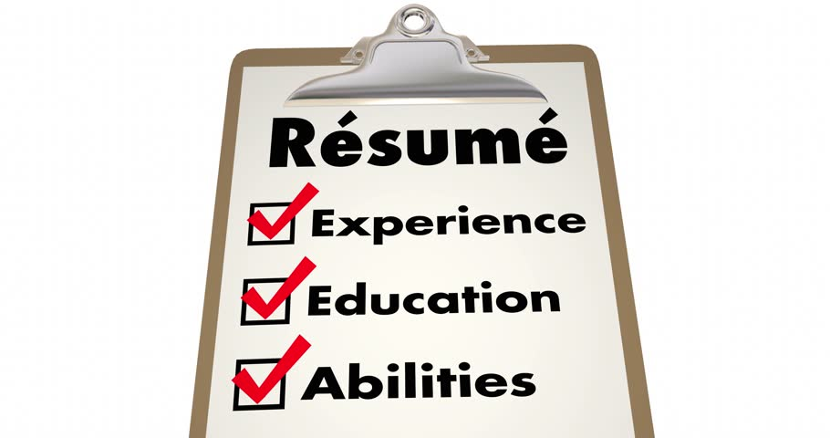 resume apply job skills education experience checklist 4k stock