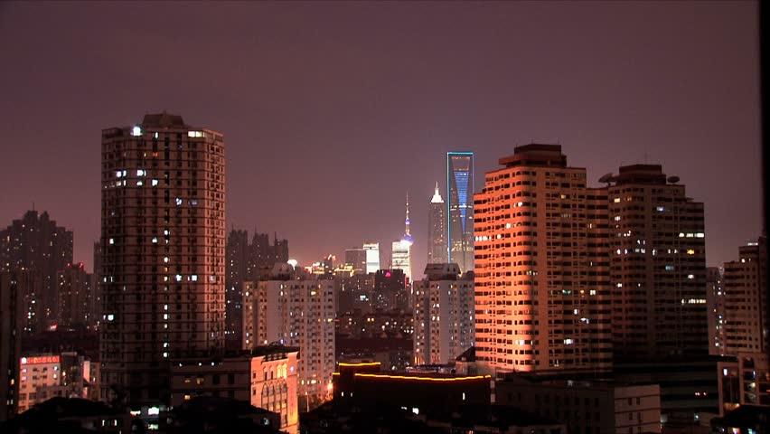 Shanghai buildings at night | Shutterstock HD Video #1462606