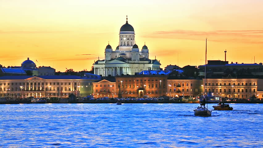 Scenic evening view of the Old Town architecture and pier with Market Square and Lutheran Christian Cathedral Church at the Senate Square in Helsinki, Finland   Shutterstock HD Video #14637355