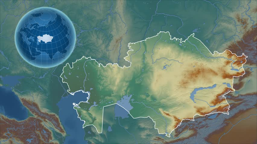Earth Camera Zoom From Sky To Kazakhstan Country Map Stock Footage - Kazakhstan map hd