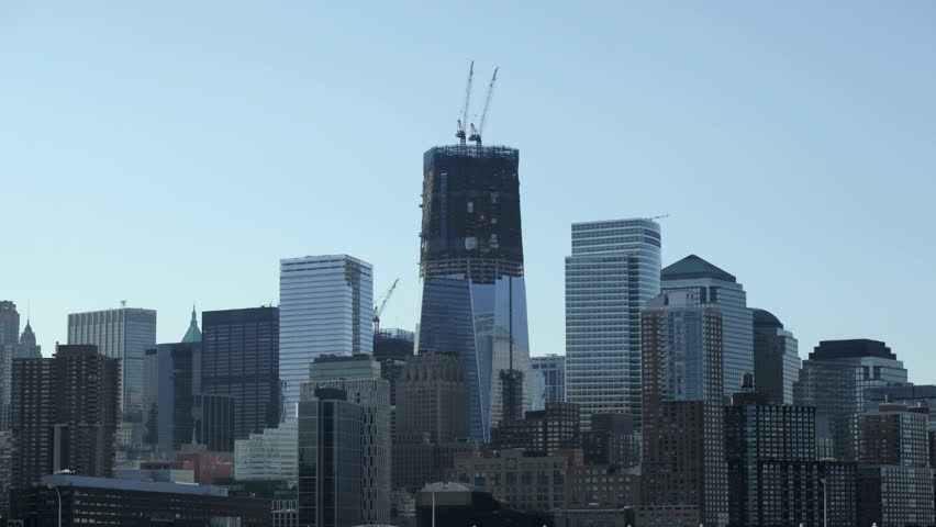 Time-lapse of downtown Manhattan, NYC showing construction at the world trade center site.