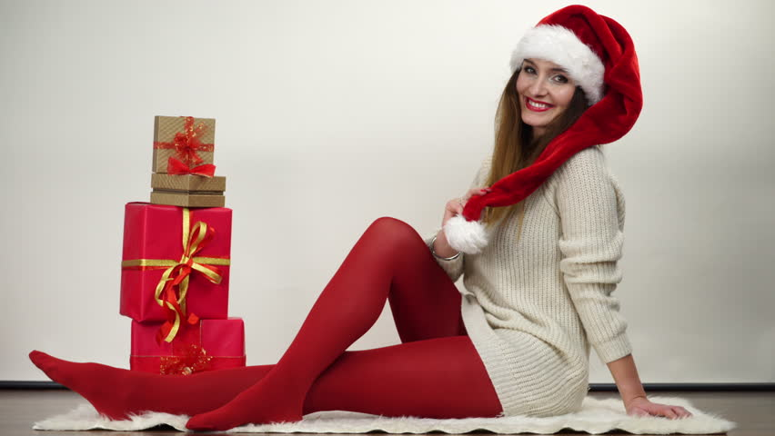 Stock Video Of Woman In Red Pantyhose And Santa  14683636 -6605