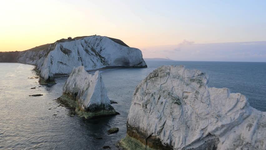 Aerial Drone Isle of Wight Needles UK Lighthouse Helipad