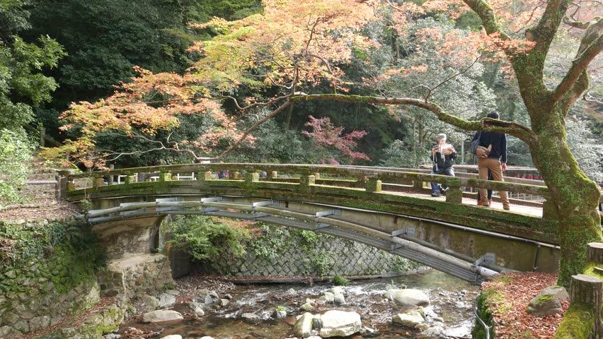 Osaka An Nov 21 2017 Tourists On Hiking Trails To Minoh Waterfall