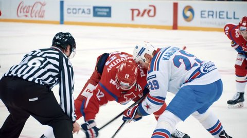 Yaroslavl, Russia, February 21 2016: KHL Playoff Lokomotiv - SKA highlights part V