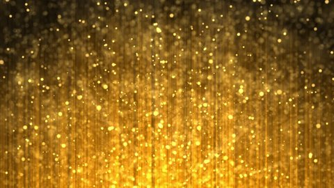 Festive volume light rays with glitter particles bokeh looped animated abstract cg motion orange 4k video background. Computer generated magical shining beams.