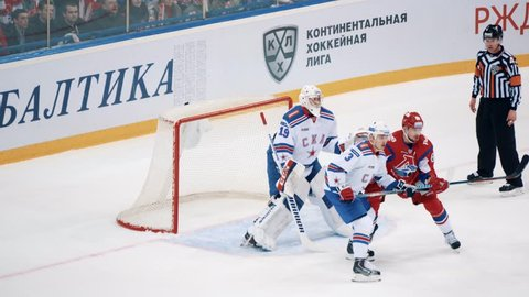 Yaroslavl, Russia, February 23 2016: KHL Playoff Lokomotiv - SKA highlights first period II