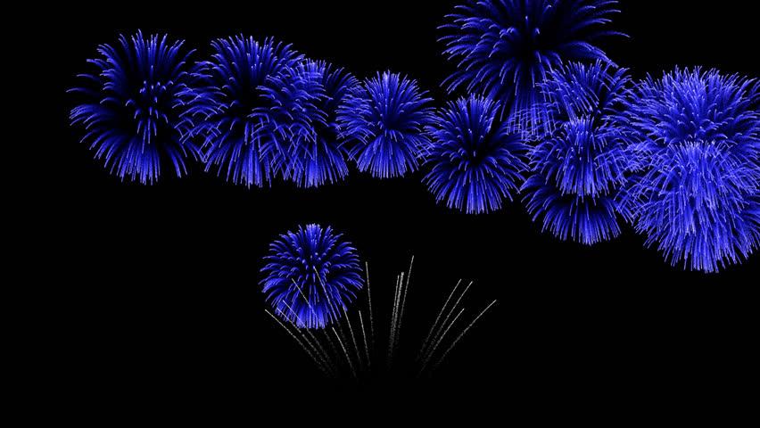 Multiple blue fireworks bursting in sky Multiple exposure of blue fireworks bursting in dark sky background during celebration