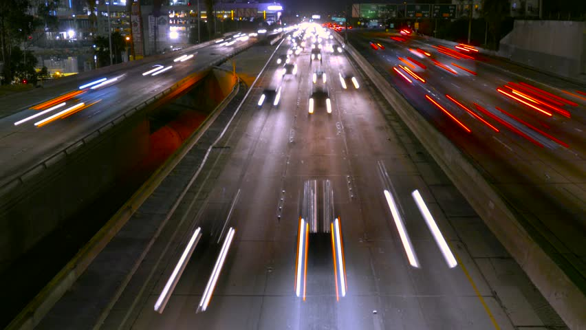 High Angle Footage Highway Traffic Night Long Exposure Urban Illuminated City Los Angeles USA Busy California Road Transportation Cars Connection | Shutterstock HD Video #14753926