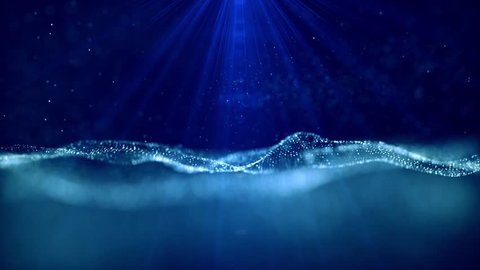 Stock footage & visuals featuring glowing light & dark blue bokeh orb shaped aquatic like particles with light rays or beams motion background. For LED installations, club visuals or editing projects
